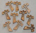 10 CHARMS Wooden Cross Pendants with Jesus Cut out Christian Jewelry Making