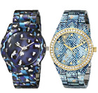 Guess Blue Tone Iconic Animal Print Stainless Steel Women Watch