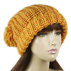 LARGE POM POM SOFT KNIT WINTER BEANIE HAT ORANGE #LHT239