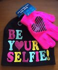 Girls Novelty Hat  Be Your selfie And Glove Set NWT