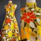 VTG 70s Mod Hippie Flower Power Dress Bold Color Explosion in Yellow Red S