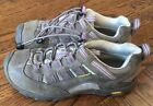 Girls KEEN Gray Purple Waterproof Pull Tie Shoes Size 5 EUC