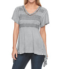 ONE WORLD WASHED GRAY CROCHET LACE FRONT PANEL SHORT SLEEVE SHARKBITE TOP Sz XL