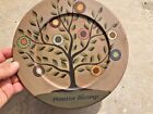 Antique Primitive FOLK ART Willow Tree BLESSINGS Penny Rug Coin Dot Plate Decor