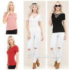 Multi Criss Cross Strappy Caged Scoop Neck Ribbed Short Sleeve Tee T Shirt Top
