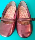 toddler girls ballet flats shoes size 7 maroon red metallic Faded Glory