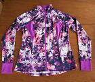 Tek Gear Womens Size L Pink  Purple Floral Zip Athletic Long Sleeve Top Jacket