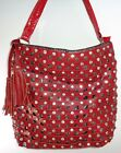 Red or Brown Crosshatch Handbag Purse with Tassel