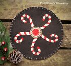 Primitive Stitchery CHRISTMAS Candy Canes Penny Rug ~ Winter Candle Mat