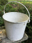 Vintage White Metal Bucket with Wire Handle