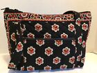 VERA BRADLEY COTTON FALL COLORS RED BROWN ON BLACK PURSE HANDBAG