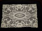Antique French Handmade Net Lace Floral Applique 20X14