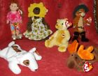 TY Beanie Baby Teenie Bopper Sunflower Bear, Moose, Puss in Boots Cracker Barrel