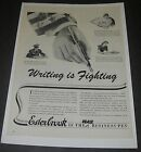 Print Ad 1942 Esterbrook Fountain Pen ART WW ll Writing is Fighting Camden NJ