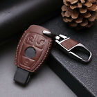 Leather Car Remote 3 Buttons Key Case Fob Holder Cover Chain For Mercedes Benz