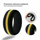8mm Black with Yellow Stripe Silicon Rubber Gym Fitness Sorts Wedding Band Ring