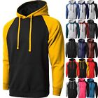 MA Mens HOODIE RAGLAN Premium PULLOVER Sweater Tee Shirts Contrast HEAVY Long