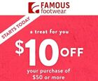 Famous Footwear 10 OFF 50 C0UPON CODE PROMO DISCOUNT EMAILED FAST EXP 12 31 18