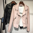 Vintage Women Punk Biker Motorcycle Lapel Soft Leather Zipper Slim Jacket Coat