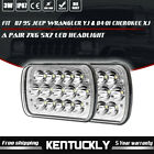 Pair 7x6 Square LED Headlights 87 95 fit Jeep Wrangler YJ  84 01 Cherokee XJ