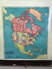 Vintage 1950's 1960's Cram's North America Cloth-Back Pull-Down School Map