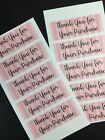 50 Pink Striped Thank You Stickers