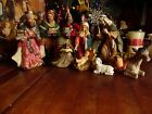 USED 9 PCS HOLIDAY HOME ACCENTS PORCELAIN NATIVITY SET DONKEY 1 EAR BEEN REGLUE