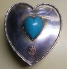 DURGIN STERLING HEART SHAPE JEWELRY BOX WITH CABOCHON HEART CUT TURQOUISE