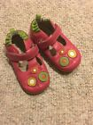Robeez Tredz infant girls mary jane pink green dots shoes size 16 20 M leather