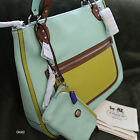 NWT COACH POPPY AQUA COLORBLOCK LEATHER GLAM TOTE SHOULDER BAG PURSE+WALLET NEW