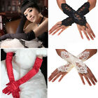 US FAST Bride Wedding Party Evening Dress Fingerless Costume Lace Satin Gloves