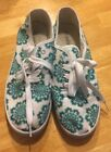 Soul Mates Canvas Low White Turquoise Shoes Sneakers Size 6 Pre Owned