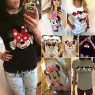 Womens Mickey Minnie Mouse Casual T Shirt Short Sleeve Blouse Slim Fit Tee Tops
