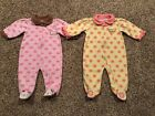 Lot of 2 Baby Bon Bebe Infant Girls Bunny and Flower Sleepers CUTE 6 9 Mos