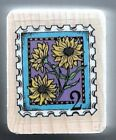 SUNFLOWERS POSTAGE Nature Scene Envelope Mail New HERO ARTS Wood Rubber Stamp