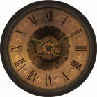 allen + roth Analog Round Indoor Wall Clock Indoor Decor Oversized Rustic Bronze