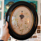 Rare Large Antique French Reliquary Embroidery Sacred Heart Doves Seals c1860