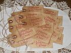 25 MEDIUM RED HAPPY VALENTINES DAY PRIMITIVE COFFEE STAINED HANG TAGS GIFT #6455