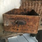 Vintage Industrial Wood Crate Drawer New York Rustic Farmhouse Box Baking Powder