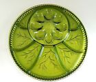 VTG Indiana Glass Green Deviled Egg Hors D'Oeuvre Tray 13
