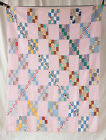Vintage African American Patchwork Quilt Squares Stitch Stripes Pink Background