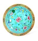 20th Century Chinese Famille Turquoise Floral Plate 10