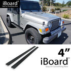 Running Board Side Step Nerf Bars 4in Silver Fit Jeep Wrangler TJ YJ 2Dr 87 06