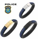 Police Officer Lives Matter Thin Blue Line Leather Magnetic Steel Bracelet 85