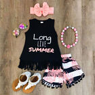3PCS Toddler Baby Kids Girl Tank Vest Tops T-Shirt+Shrots Outfit Set Clothes US