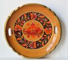 Vintage Hand Painted Floral Wooden Serving Tray Flowers orange red autumn