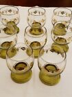 5.5 ounce wine ribbed base gold grape and leaves trim set of 8