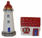 Ceramic Lighthouse with House Salt  Pepper Shakers