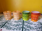 Anchor Hocking Fire-King Peach Lustre Kimberly Coffee Mug Cup Green Orange lot 4