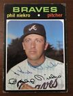 PHIL NIEKRO 1971 TOPPS AUTOGRAPHED SIGNED AUTO BASEBALL CARD 30 BRAVES